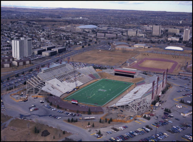 Image Of An Oblique Aerial Photograph Construction To Upgrade McMahon Stadium Increase The Seating Capacity Facility For 1988 Calgary